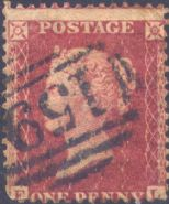 1862 1d Rose-red C13eub Plate R16 'EL'